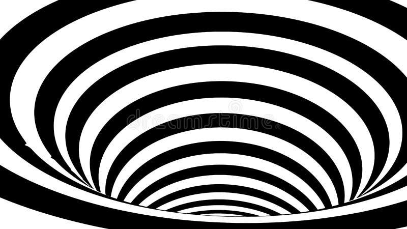错觉波浪 摘要3d黑白幻觉 水平线与波浪畸变的条纹样式或背景 向量例证