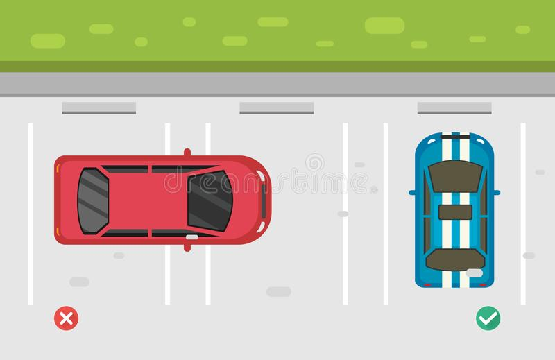 错误和正确的停放的汽车在停车处 库存例证