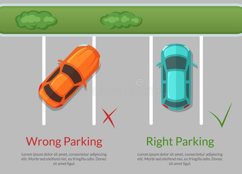 错误导航和在停车场顶视图例证的正确的停车处汽车 皇族释放例证