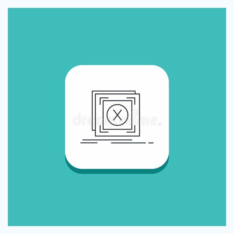 错误的,应用,消息,问题,服务器线象绿松石背景圆的按钮 向量例证