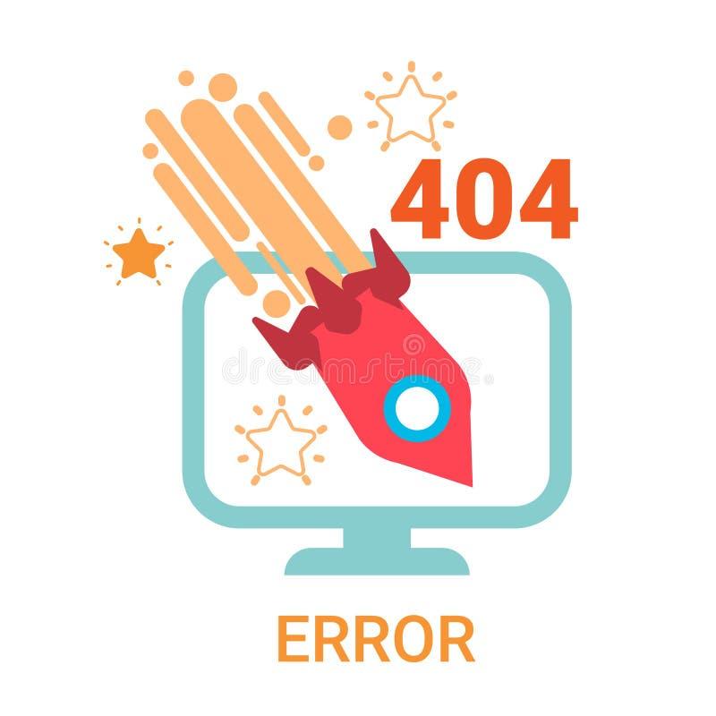 错误象404没被找到的打破的消息横幅 向量例证
