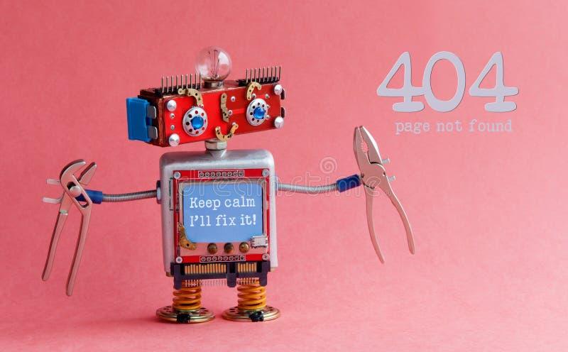 错误404页没被找到的概念 友好的杂物工机器人,兴高采烈的红色头,保留安静我` ll固定它在蓝色的消息 图库摄影