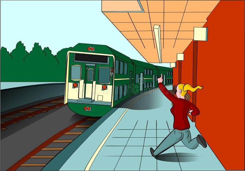 错过她的火车的白肤金发的夫人 库存例证