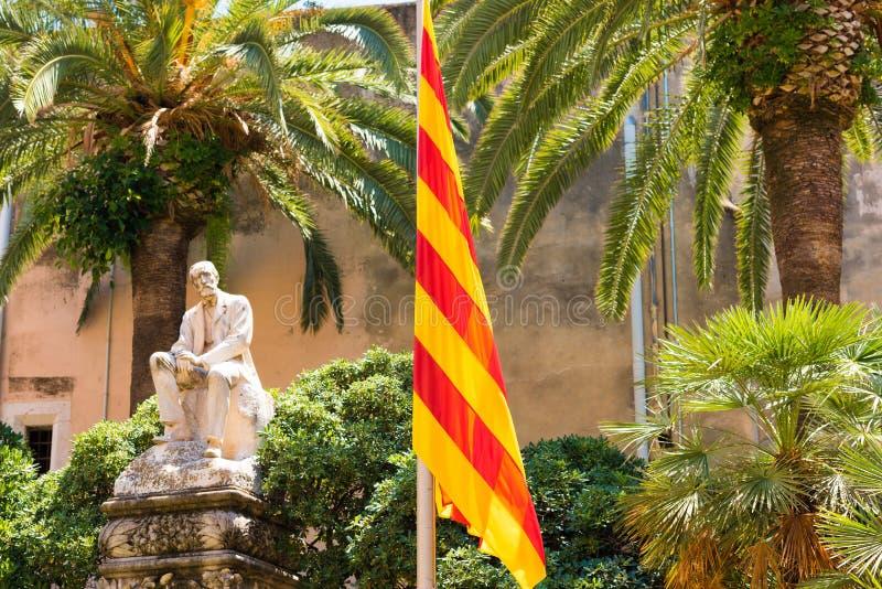 锡切斯, CATALUNYA,西班牙- 2017年6月20日:纪念碑Al罗伯特医生 免版税库存照片