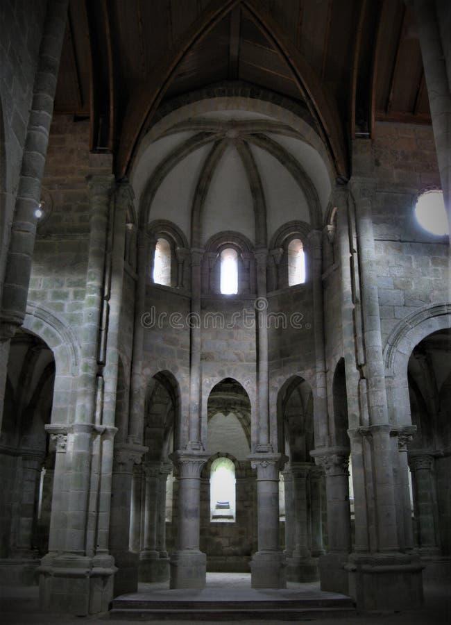 锡列达,西班牙7月,26日2019年:carboeiro修道院的教堂  图库摄影