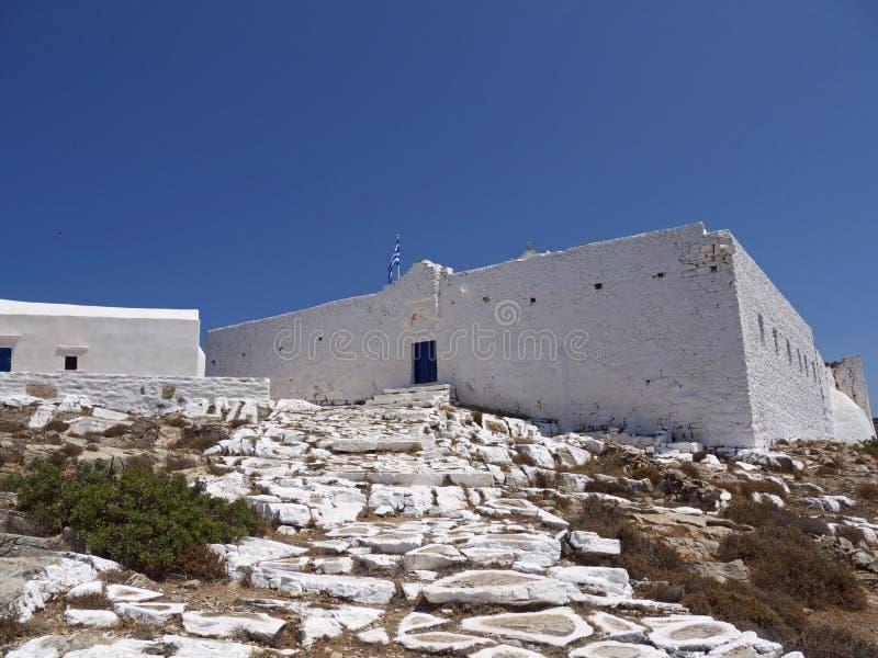 锡基诺斯岛海岛城堡,希腊 免版税库存照片