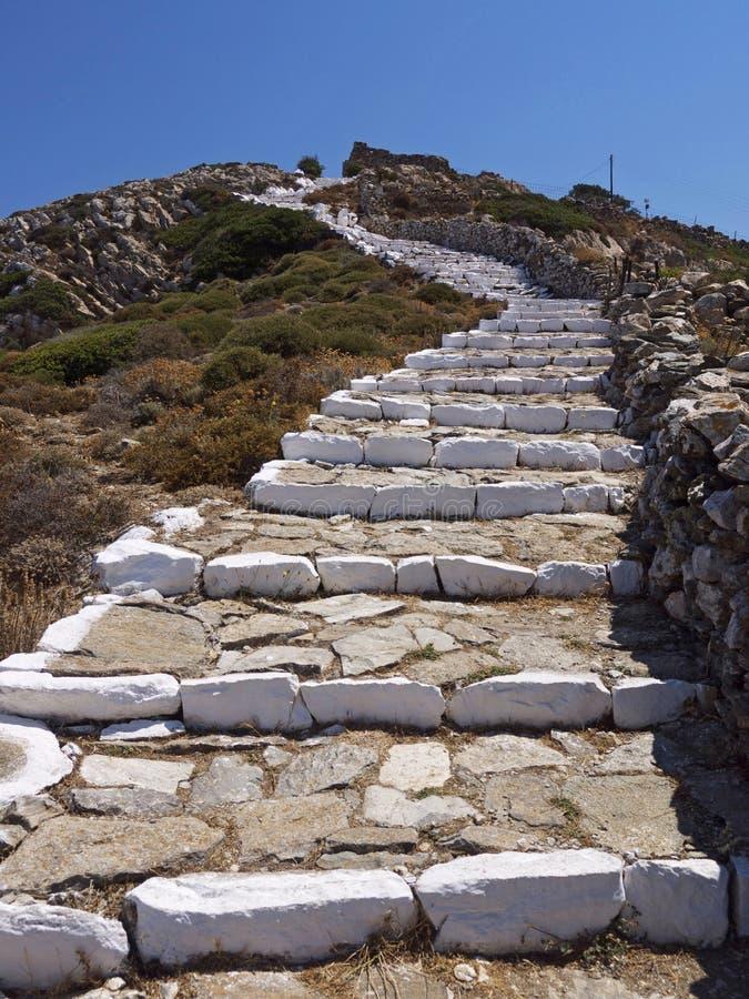锡基诺斯岛海岛山走道,希腊 库存照片