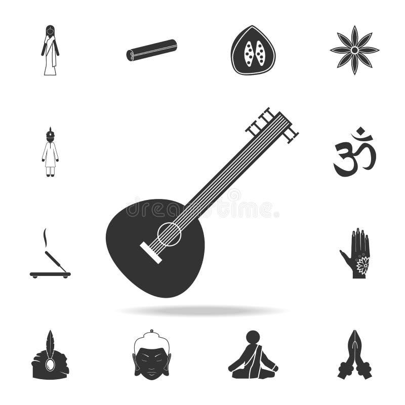 锡塔尔琴象 详细的套印地安文化象 优质质量图形设计 其中一个网站的汇集象,网de 库存例证