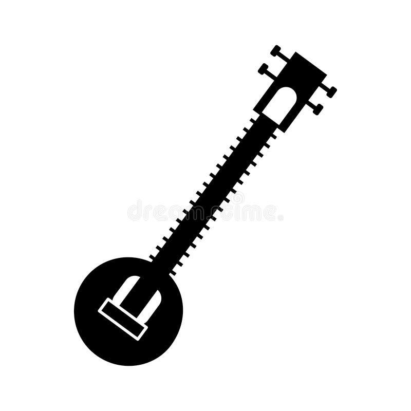 锡塔尔琴印地安乐器 库存例证