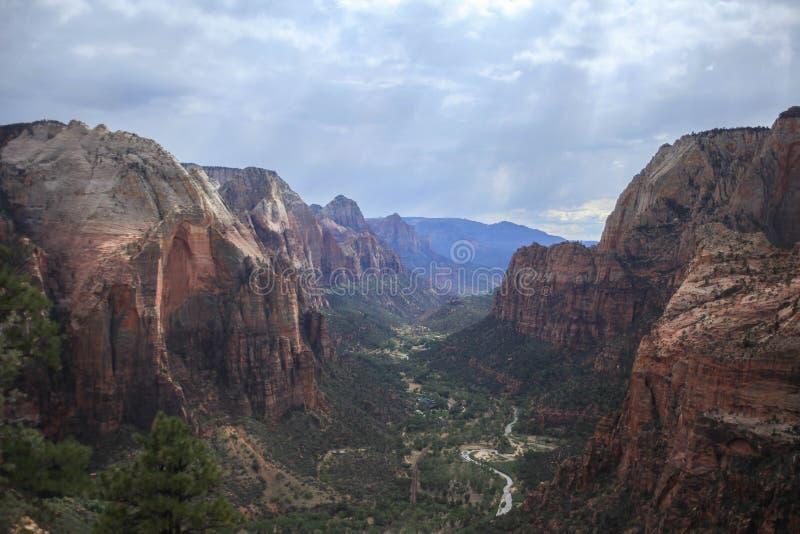 锡安峡谷见的形式天使` s登陆的点 图库摄影