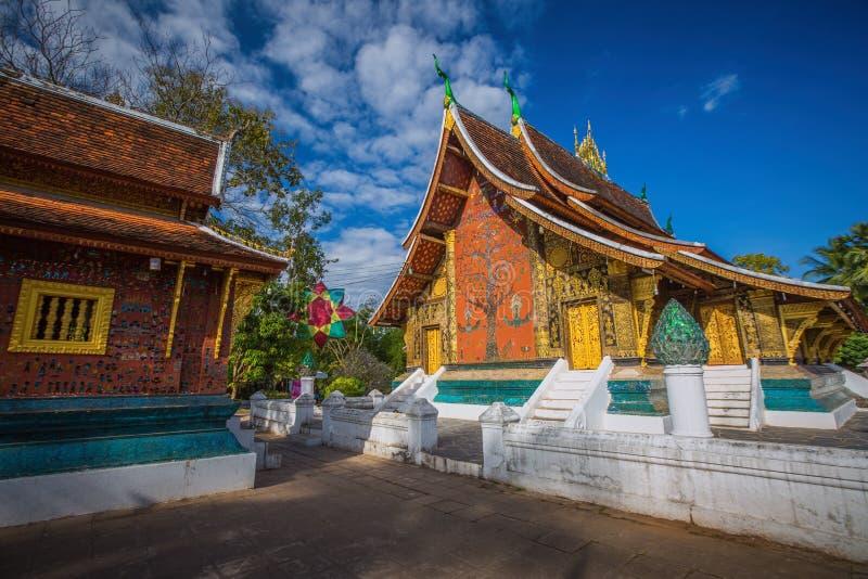 锡昂队皮带寺庙在琅勃拉邦,老挝 图库摄影