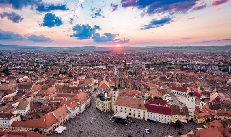 锡比乌全景在特兰西瓦尼亚罗马尼亚 免版税库存照片