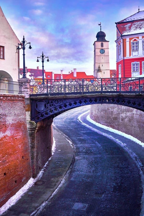 锡比乌罗马尼亚Transilvania说谎者桥梁 免版税库存照片