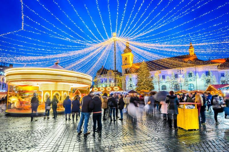 锡比乌,特兰西瓦尼亚,罗马尼亚,圣诞节市场 图库摄影