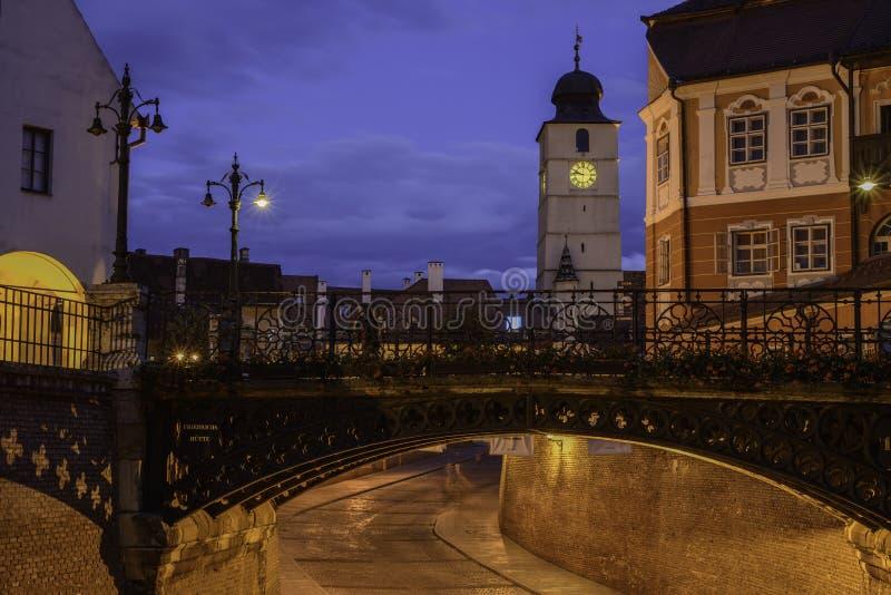 锡比乌,罗马尼亚,欧洲,被节略的小正方形 免版税图库摄影