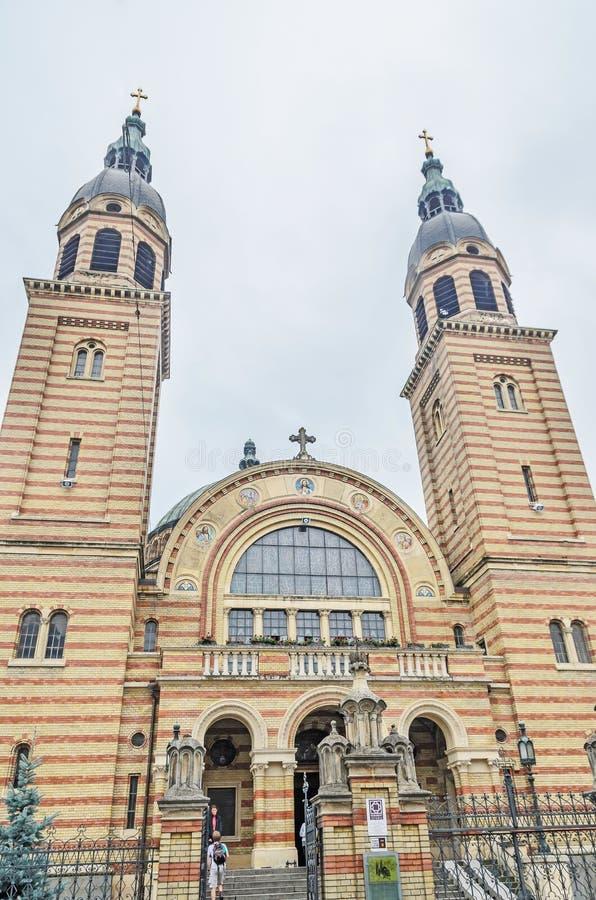 锡比乌,罗马尼亚:三位一体大教堂(Catedrala Sfanta Treime) 库存图片