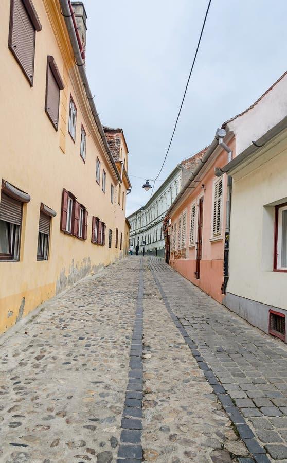 锡比乌,罗马尼亚:城市的被铺的街道近街市 色的房子 图库摄影