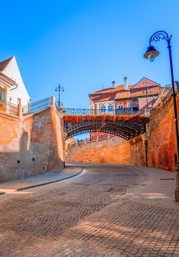 锡比乌,罗马尼亚:说谎者在小正方形跨接 免版税库存照片