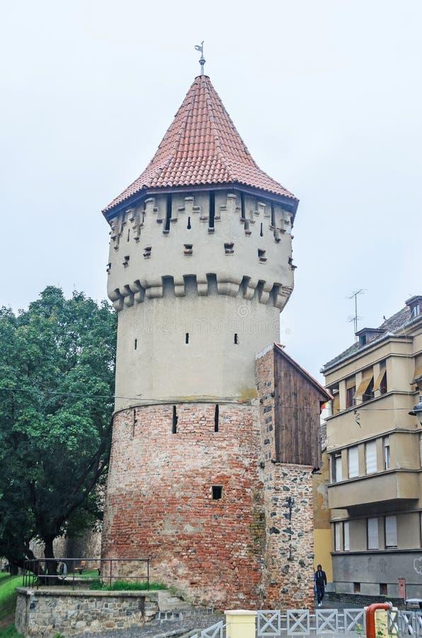 锡比乌,罗马尼亚:castel细节位于了近城市的街市 库存图片