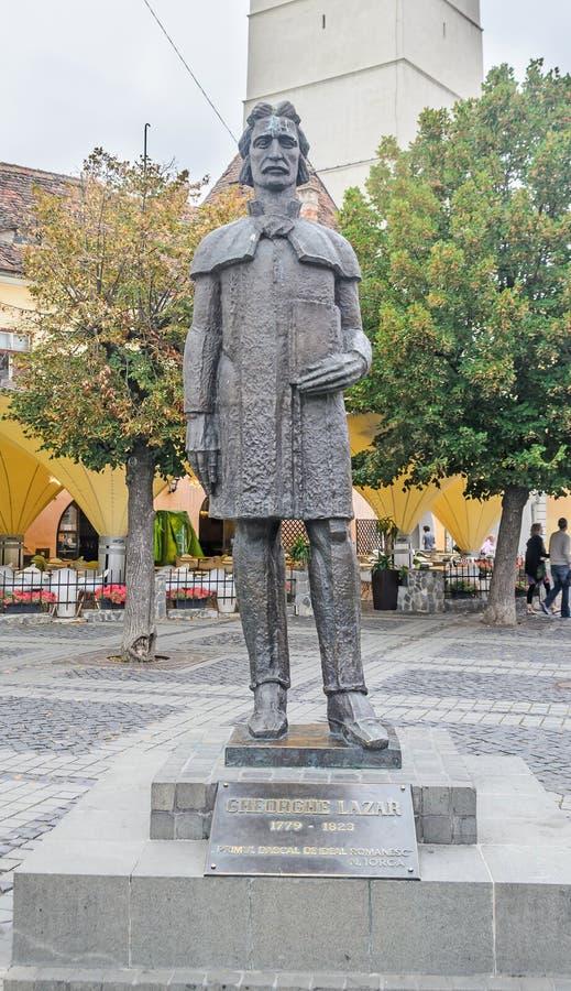 锡比乌,罗马尼亚:Gheorghe恶疾病人雕象  免版税库存图片