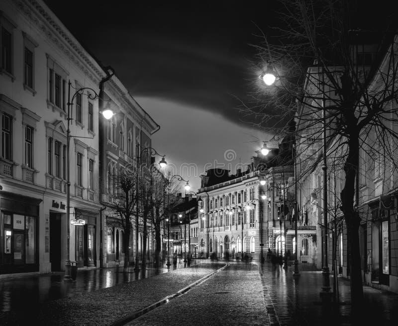 锡比乌,罗马尼亚- 2016年2月13日:在著名Nicolae Balcescu街道上的锡比乌老大厦在锡比乌,罗马尼亚 库存照片