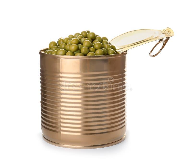 锡罐用被保存的豌豆 免版税库存图片