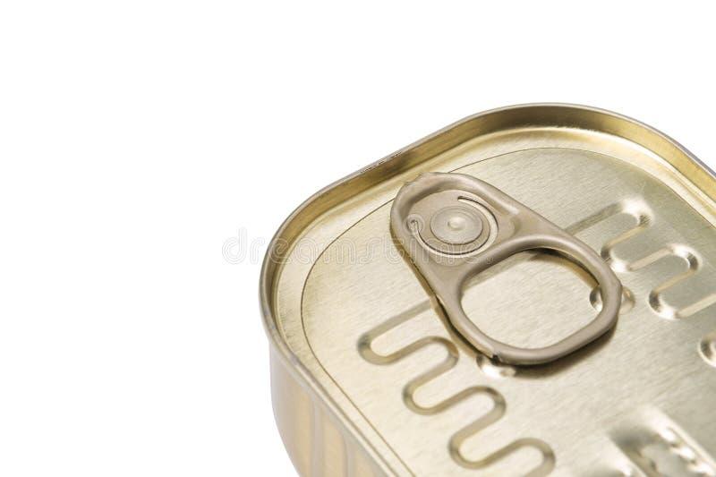 从锡罐的圆环。在白色背景。 库存照片