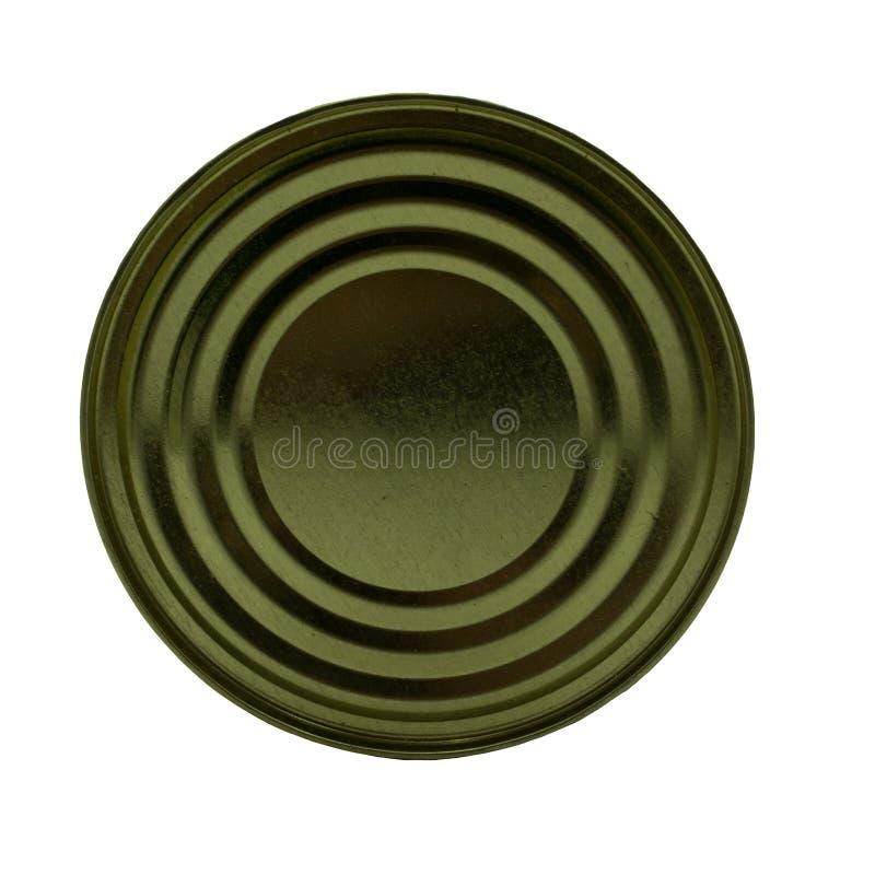 锡罐tincan罐子菜白色的盒盖 免版税图库摄影
