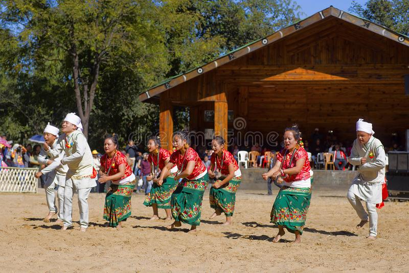 锡金, Kisama,那加兰邦的Lepcha舞蹈家犀鸟节日的 库存照片