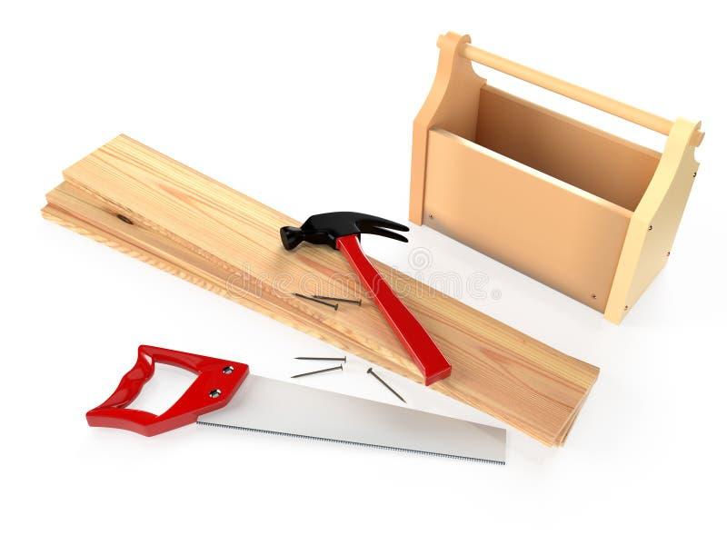 锤子、引形钢锯、工具箱、木板条和钉子在白色 向量例证
