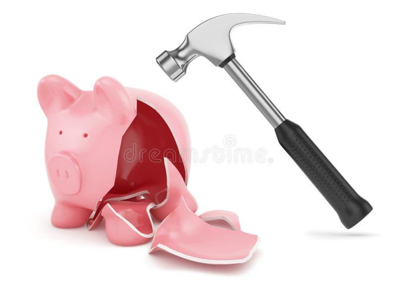 锤子和残破的piggybank 图库摄影