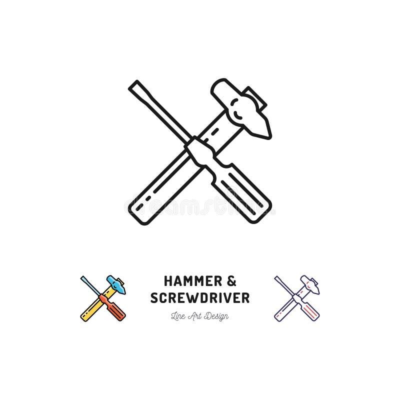 锤子和螺丝刀象,修理标志,导航稀薄的线艺术标志 库存例证