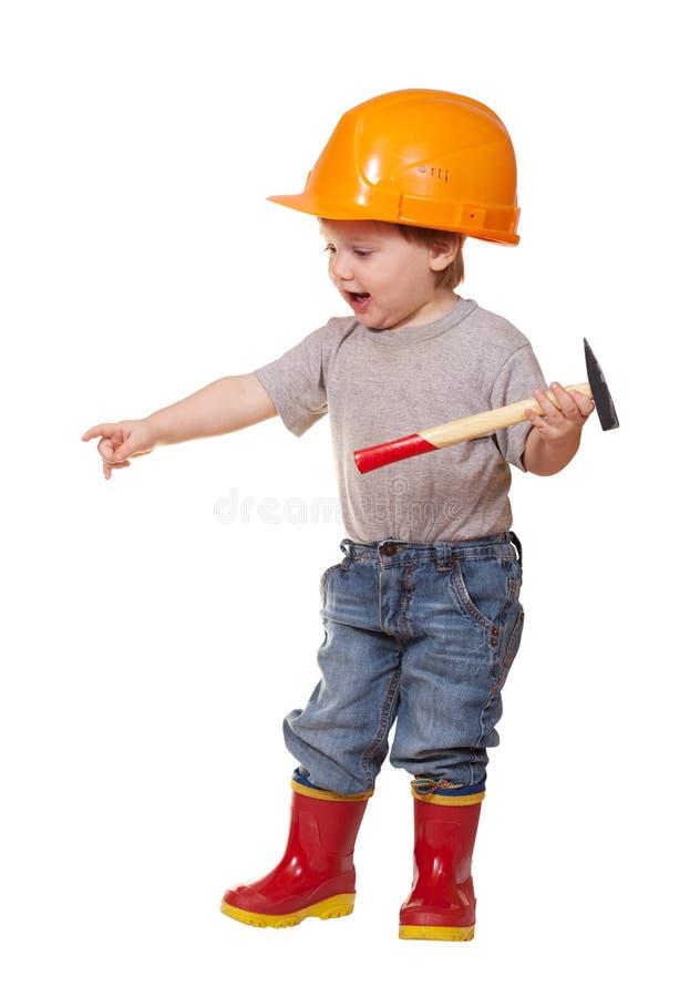 锤子安全帽小孩 图库摄影