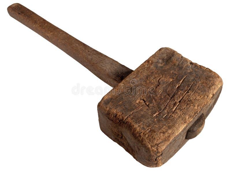 锤子查出的短槌老空白木 库存图片