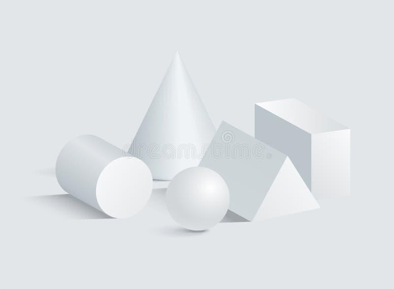 锥体圆筒球形长方体和三棱柱3D 库存例证