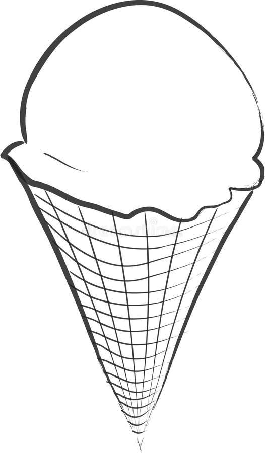 锥体奶油色冰 向量例证