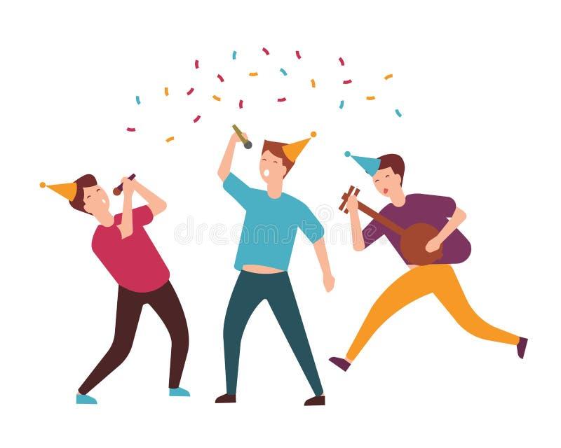锥体帽子的庆祝生日的小组快乐的年轻人或男孩 唱歌曲和演奏音乐的滑稽的朋友 库存例证