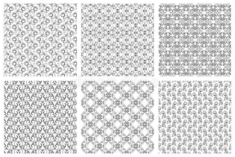 锦缎传染媒介东方花卉葡萄酒无缝的样式集合 从卷毛的书法样式在白色背景 库存例证