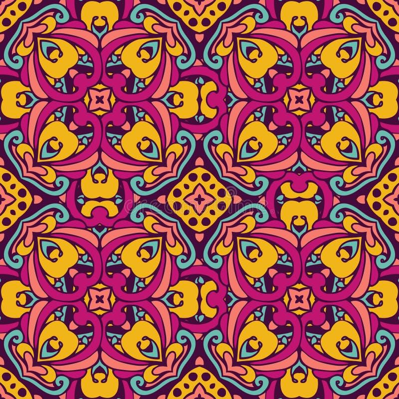 锦缎传染媒介欢乐抽象无缝的样式 库存例证