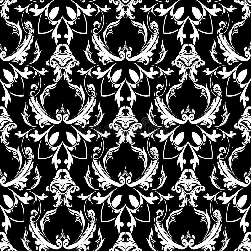 锦缎巴洛克式的花卉无缝的样式 黑白色背景w 库存例证