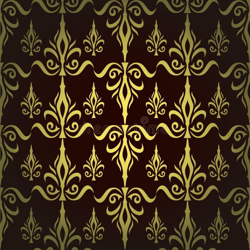锦缎无缝的花卉样式。皇家墙纸。花和冠在黑暗的背景 库存例证
