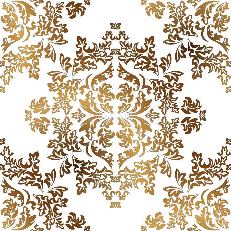 锦缎无缝的金黄装饰品 传统传染媒介样式 经典东方背景 向量例证