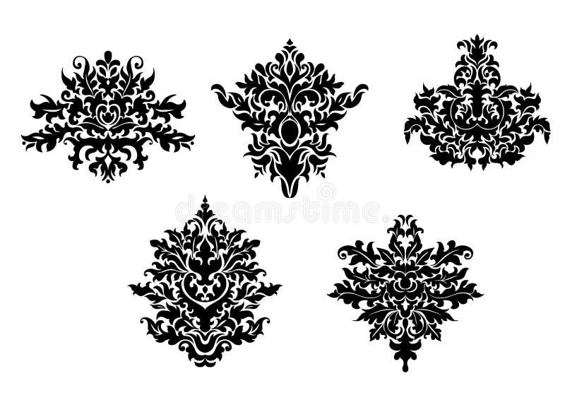 锦缎的装饰元素 库存例证