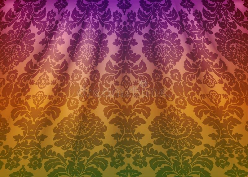锦缎织品装饰 仿照巴落克式样样式的豪华墙纸 与花饰的黄色难看的东西纹理传染媒介背景 向量例证