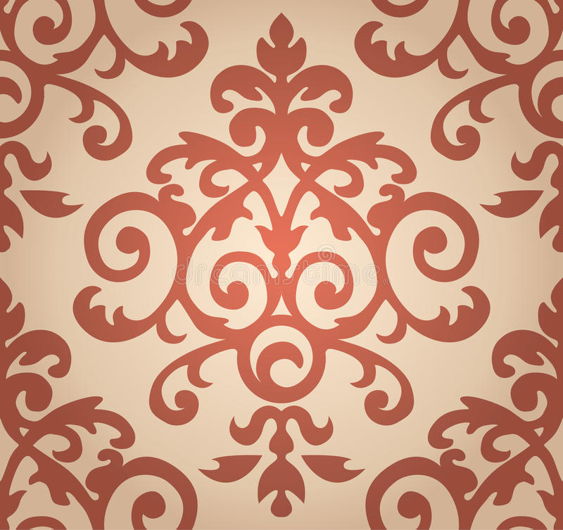 锦缎花卉样式 在巴落克式样的墙纸 图库摄影