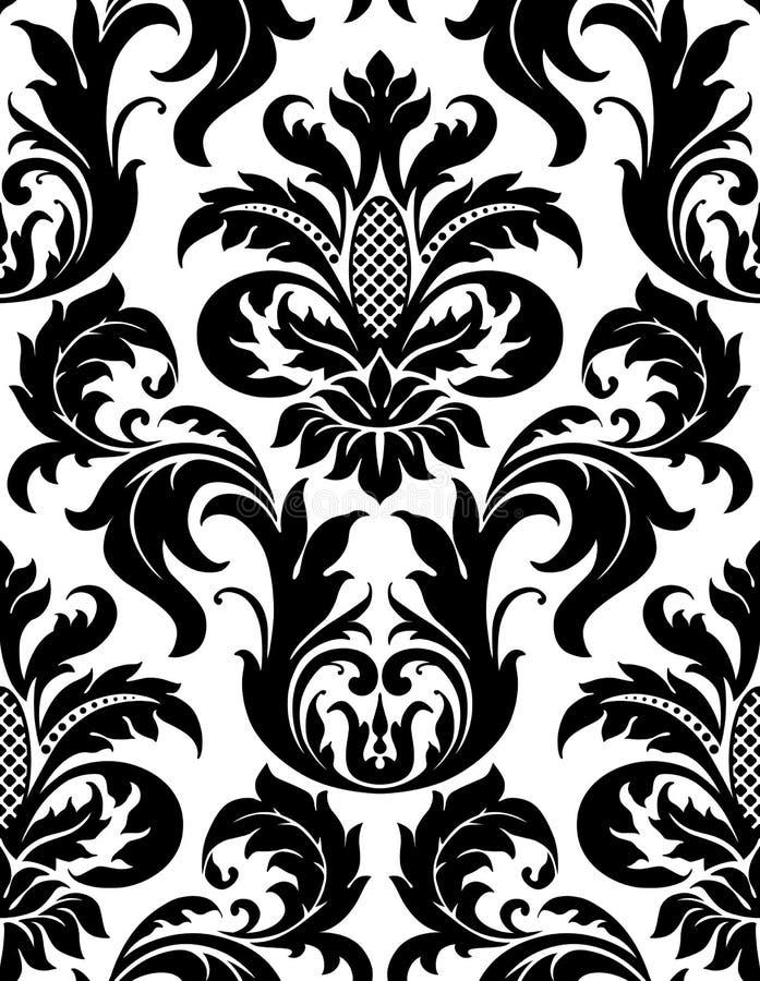 锦缎花卉模式无缝的向量 库存例证