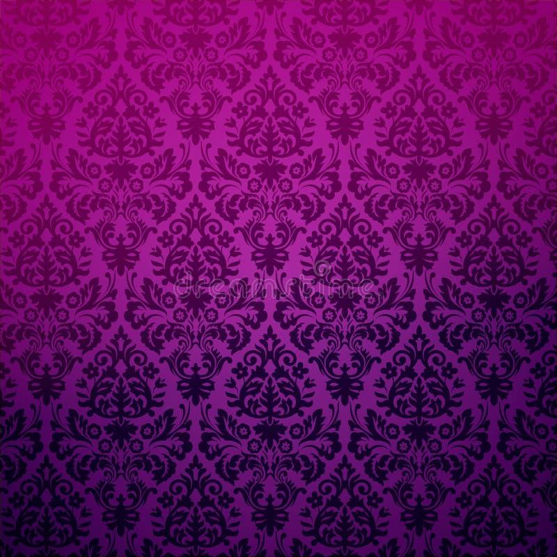 锦缎葡萄酒花卉背景模式。 皇族释放例证