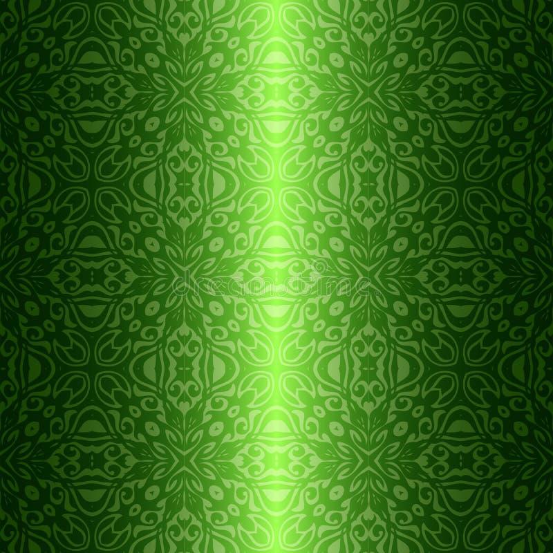 锦缎葡萄酒花卉绿色无缝的样式 向量例证
