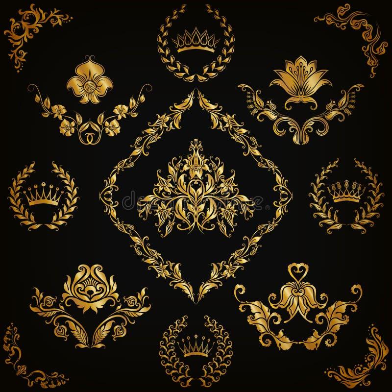 锦缎装饰品被设置的向量 皇族释放例证