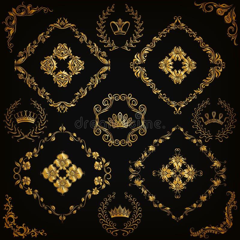 锦缎装饰品被设置的向量 向量例证